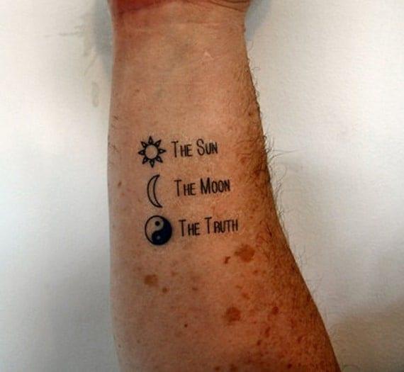 Le soleil la lune la vérité temporaire tatouage tatouage Ying
