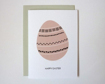 Happy Easter - easter egg illustrated greeting card