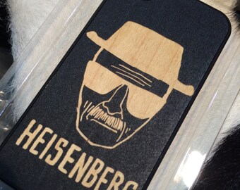 Heisenberg Engraved On Black Color Dipped Wooden Case