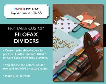 Printable Custom Filofax Dividers - Fits Filofax Personal and Kikki K medium planners
