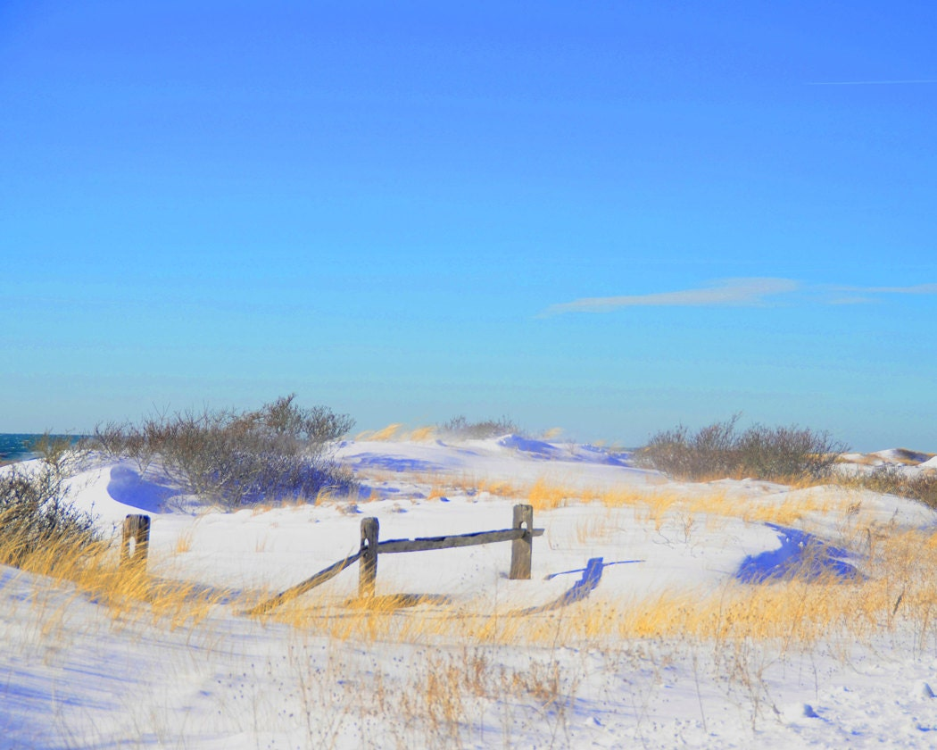 Winter Beach Scene Fine Art Photography Wall Photo Print Snow