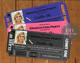 Graduation Ticket Invitation * Digital Party Invitation * You Print