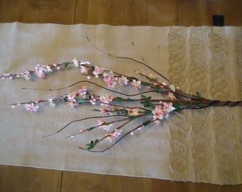 12 Pink Weeping Cherry Branches Vintage Rustic Halo Berry Supplies DIY Silk Flowers  #265B