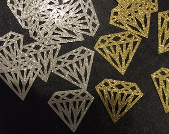 20 Glitter Large Diamond Confetti, Colors Gold, Silver, Many Other Colors, Bridal Shower, Engagement, Wedding, Scrapbooking