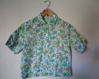1960's Psychedelic Toile Wallpaper Blouse Size Small