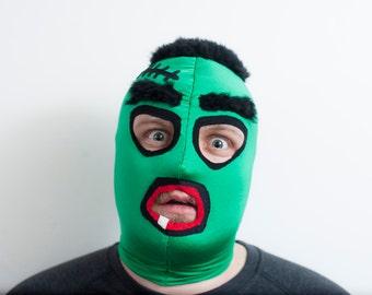 Frankenstein costume / wrestling lycra and fur mask.