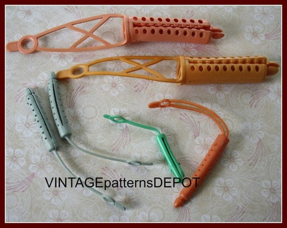 1940s 1950s 60s HAIR rollers, vintage hair accessories, rubber hair