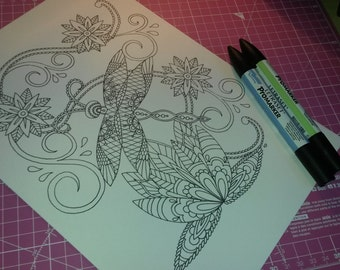 Adult Colouring Page, Lace Dragonfly and Lotus