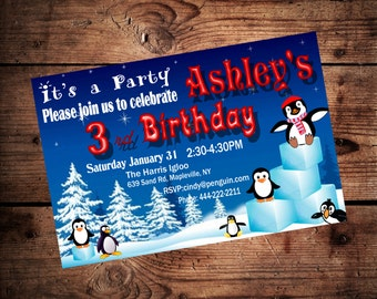 Printable Penguin Birthday Invitation Personalized Invite DIY Printable Penguin Invitation