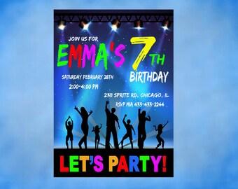 Dance Birthday Invitation Personalized Invite DIY Printable Dance Invitation