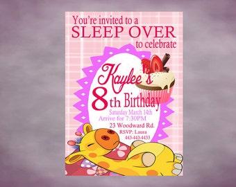 Sleep Over Party Birthday Invitation Personalized Slumber Party Printable Invitation