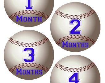 Baseball Baby Month Stickers First Year Stickers Baby Milestone Stickers Baby Onesie Stickers Baseball Bodysuit Stickers Free Shipping