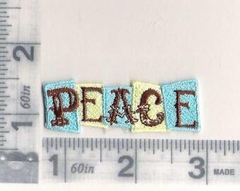 PEACE in aqua and cream patch