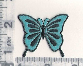 Butterfly - aqua and blue iron on patch
