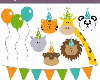Party Animals Digital Art Set Clipart Commercial Use Clip Art INSTANT DOWNLOAD Birthday Clipart Party Clipart