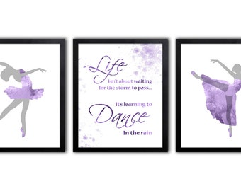 Purple And Gray Nursery Art For Girl - Nursery Quote For Girl - Ballerinas - DS17