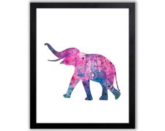 Girl Elephant Nursery Decor - Watercolor Elephant Painting - Baby Elephant Decor - EL006