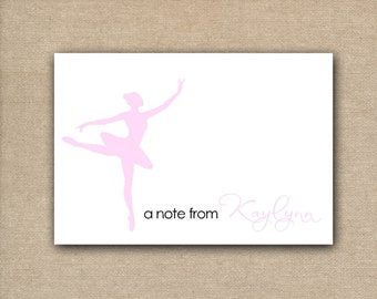 Set of 10 - Blank Dance Note Cards - Ballet Note Cards - Girls stationery - Girls blank note cards