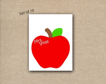 Set of 10 - Blank Note Cards - Apple Note Cards - Teacher Note Cards - Stationery for teachers