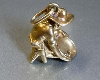 14kt Gun Slinging Pan Handler Miner Pendant Bracelet Charm Gold Rush Panning 1849