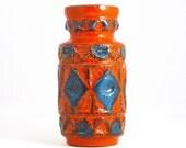 German vintage ceramic orange vase