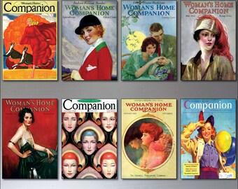 A Set Of 8 Vintage Women's Magazine cover  Fridge Magnets - Shabby, Chic, Retro