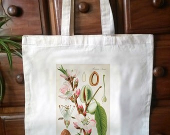 Cotton Eco Friendly shopper tote bag,  Victorian botanical print - No.4