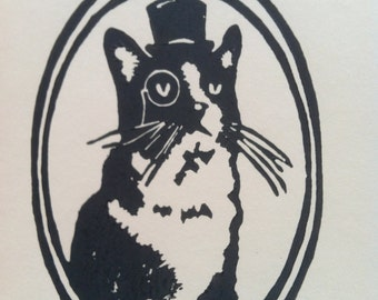Top Hat Cat  Linoblock Print 5x7