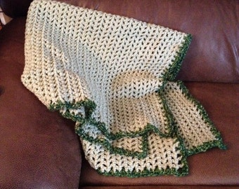 Light Green Crochet Baby Blanket, Boy or Girl