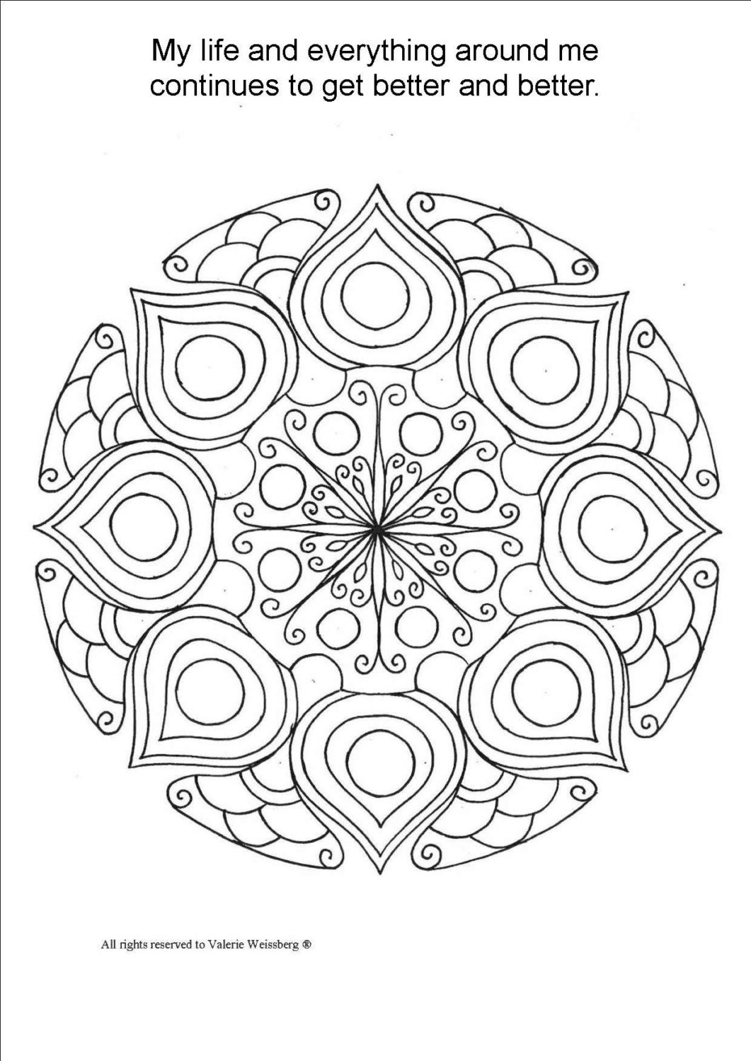 Mandala Coloring Book Art Therapy Healing Art by ValerieArts2014