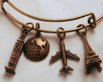Bronze European Travel Bangle, Inspired by Charm bracelet, Big Ben, Globe, Eiffel Tower, Plane, London, paris france, traveler, world explor