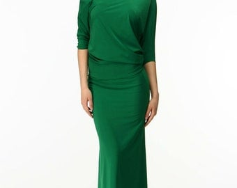 Formal Green Maxi Dress,Bridesmaid One Shoulder Dress Oversized.