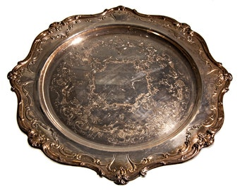 Vintage silver plate serving platter, Gorham YC 1334, inscribed