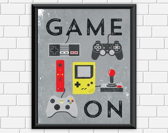 Video Game Printable Art Typography Game Controllers Modern Vintage Art Print, Wall Art Home Decor 8 x 10 Instant Download Digital File