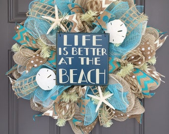 Life Is Better At The Beach Burlap Deco Mesh Wreath with Sea Shells, Seashell Wreath, Beach Wreath, Starfish Wreath