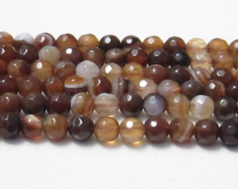 """Agate, Faceted 4mm Round Beads, 15"""" Strand"""