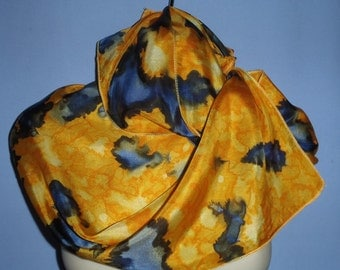 Navy/Golden Yellow Exclusive Pure Silk Hand Painted Scarf