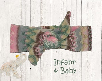 Winter Geometric Knotted Headband Infant || Baby - Soft and Warm Pink Gray Green Yellow Sweater Knit Fabric