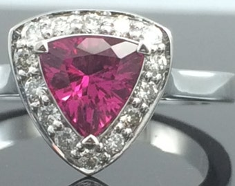 Diamond and Pink Sapphire Halo Ring In 14K White Gold