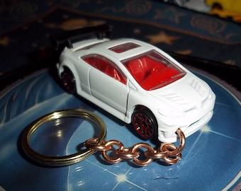 custom made keychain 2006 honda civic-si,gloss white w/black tires on red chrome mags/repaint mint