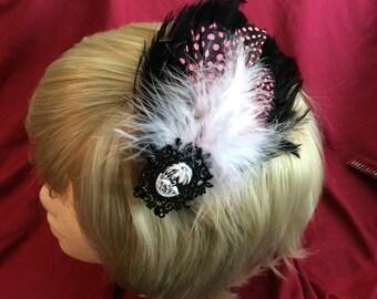 Flamingo Cameo Feather Hair Fascinator