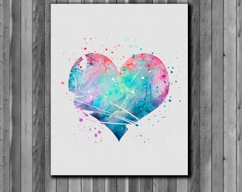 Heart Poster,  Poster for Valentine's day -  watercolor, Art Print, instant download,  Watercolor Print, poster