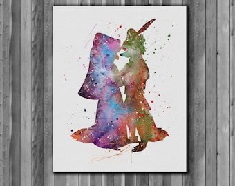 Robin Hood and Maid Marian, Robin Hood disney  poster - Art Print, instant download, Watercolor Print