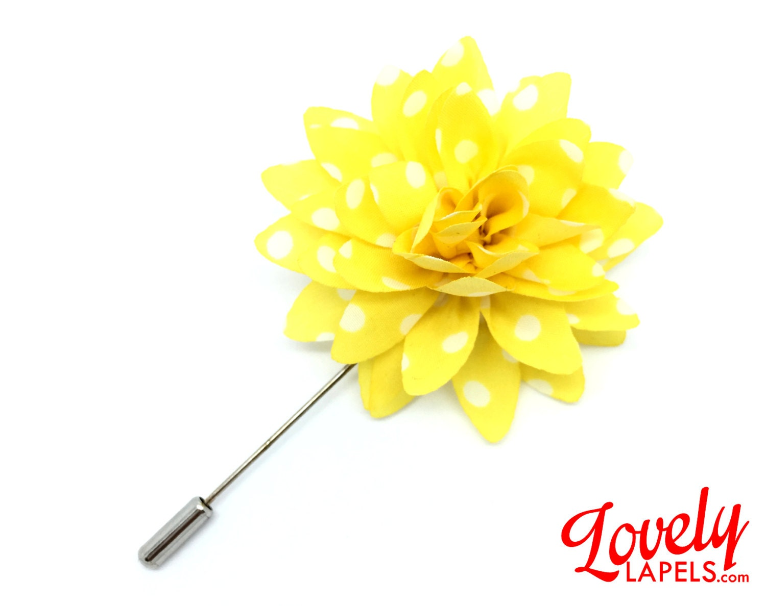 FLP1819 Flower Lapel Pin Yellow with White Dots by LovelyLapels