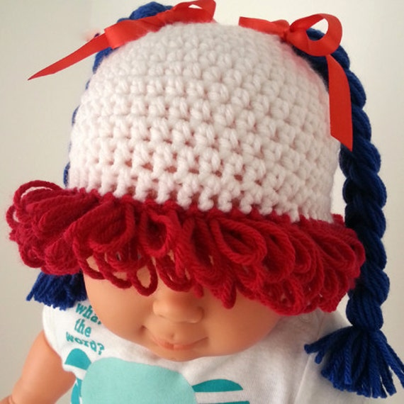 Cabbage Patch Knit Hat With Fringe And Pigtails Pattern : Cabbage patch baby hat. Halloween crochet baby by LilCuddles