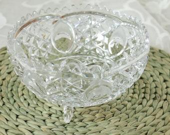 Vintage Crystal Three Footed Cut Glass Bowl