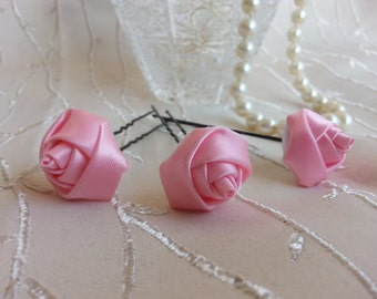 Set of 3 piece.Pink Rose Hairpins