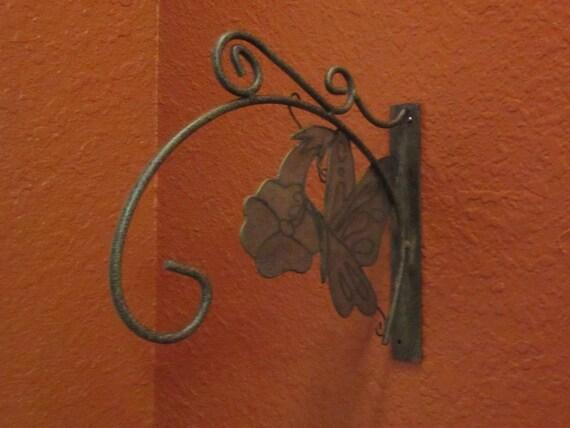 Vintage large goldblack speck Metal plant hanger Hook or Art