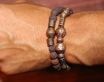 King Bracelet and Brown Lava Rock Bracelet Set