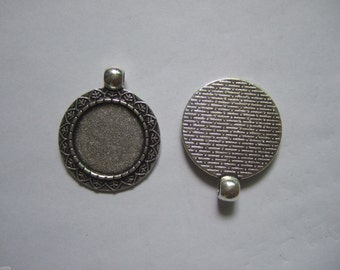 20pcs Antique Silver Round Pendant Trays Blank Pendant Bases 18mm Bezel